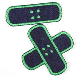 Flickli Pflaster Bügelflicken Jeans blau grün Set klein mittel