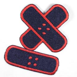 Bügelflicken Jeans Pflaster blau rot Set klein mittel 2 Flicken Aufbügler Patches zum aufbügeln