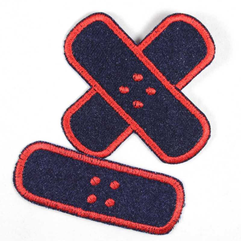 Flickli plaster iron-on patches dark blue jeans red embroidered, set small medium