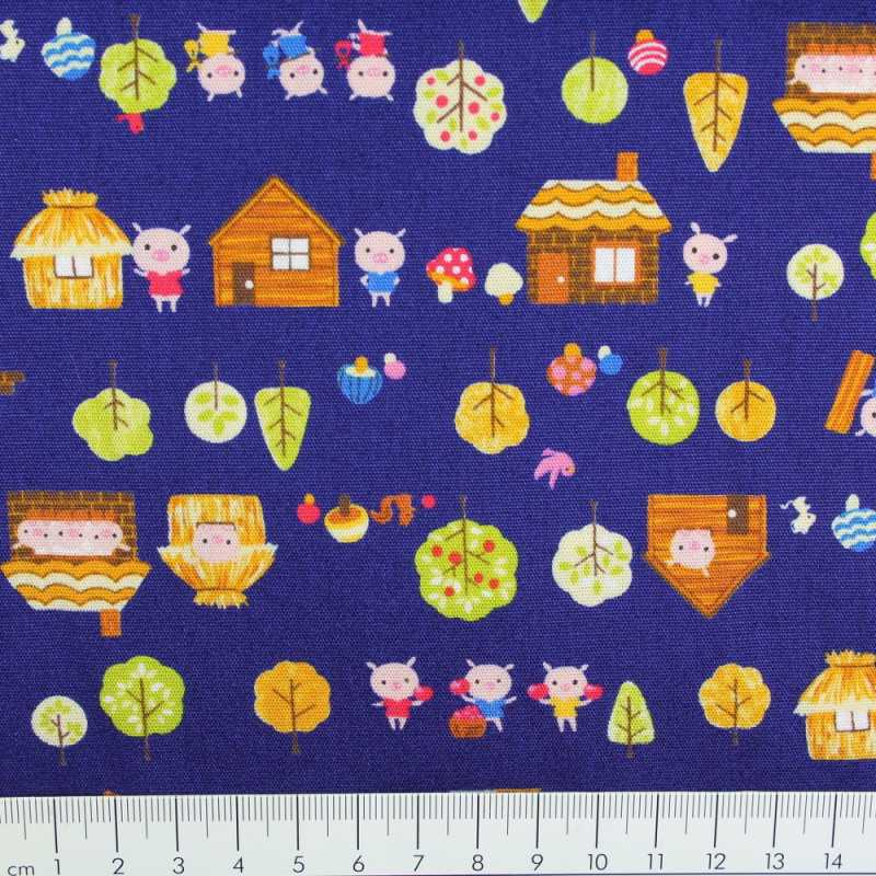 cosmo fabrics cotton 3 little pigs blue