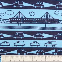 cosmo Stoffe Baumwolle Eisenbahn und Autos auf blau
