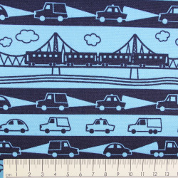 cosmo fabrics cotton railroad and cars on blue