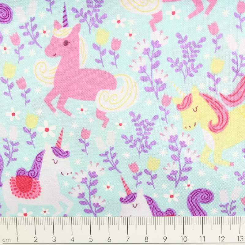 Michael Miller fabrics unicorns on turquoise