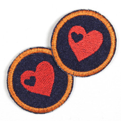 2 patches round with heart red on jeans dark blue with orange border