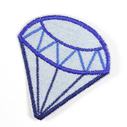 Applikation Diamant hellblau Accessoire zum aufbügeln Brilliant Bügelbild solider Jeans Flicken