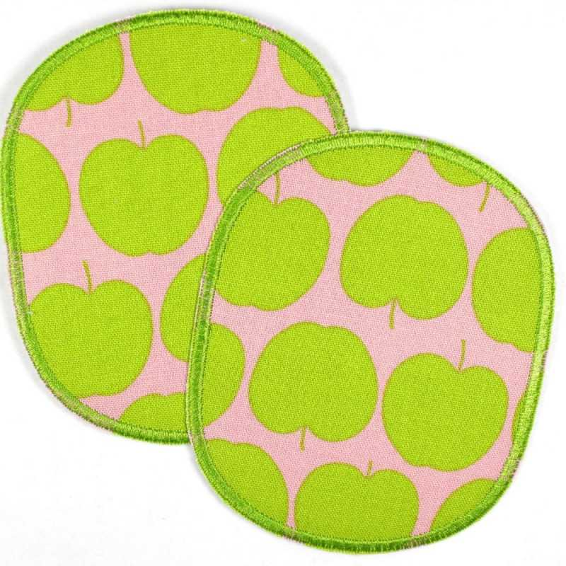 Patch set retro XL apple green, large iron-on patches, tear-resistant reinforcement and ideal as a knee patch
