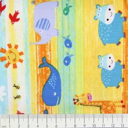 Baumwollstoff timeless treasures fabrics zoo tiere bunte Farben Stoff