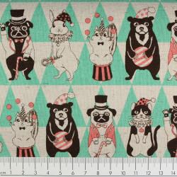 cosmo Zirkus Stoffe Baumwollstoff festliche Tiere grün