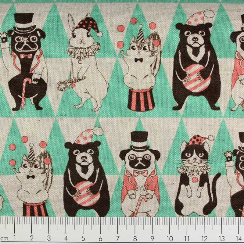 cosmo fabrics cotton festive animals green