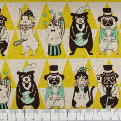cosmo Stoffe Baumwollstoff Zirkus Tiere gelb Canvas Japan