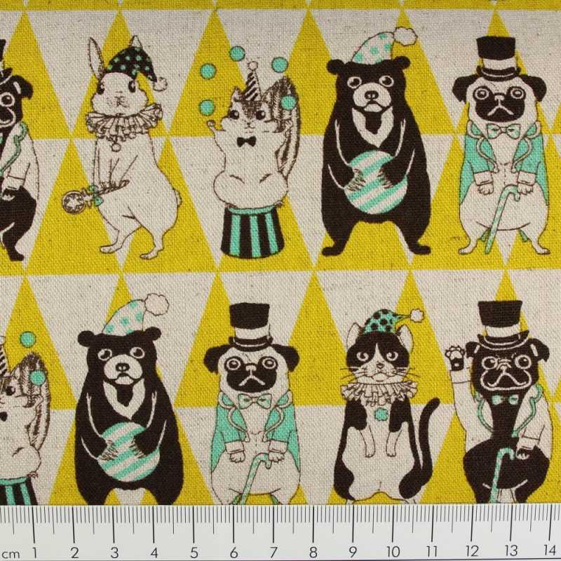 cosmo fabrics cotton fabric festive animals yellow