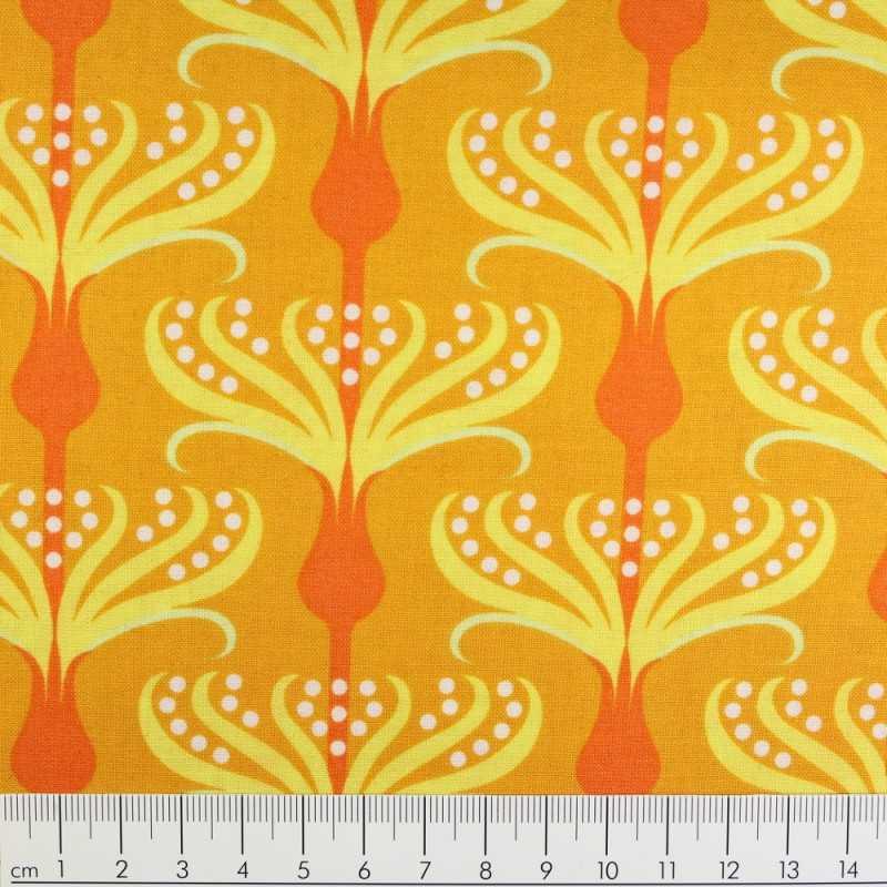 Fabrics Michael Miller cotton fabric Helens Garden by Tamara Kate orange