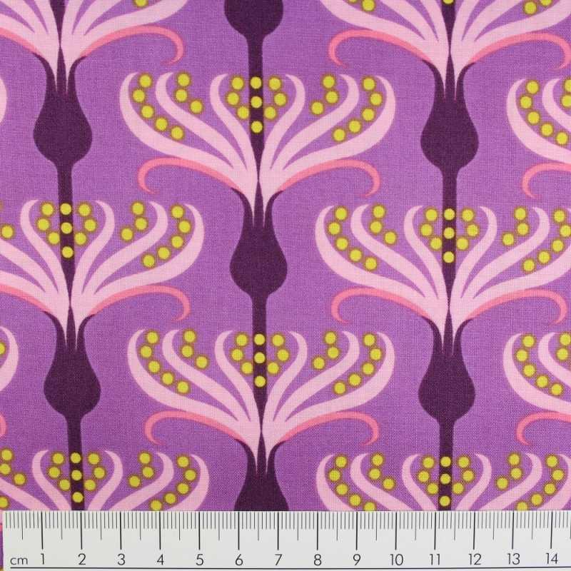 Fabrics Michael Miller cotton fabric Helens Garden by Tamara Kate plum
