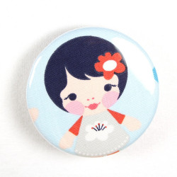 Button girly flower in hair fabric button 2.2""