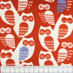 cosmo textile Japan fabrics owls on red canvas