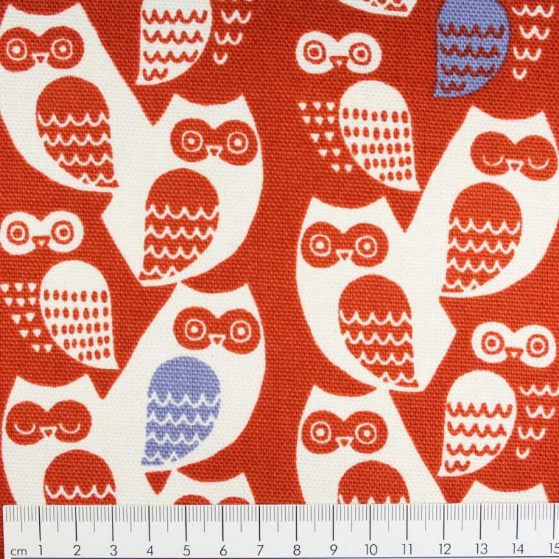 cosmo cotton owls red