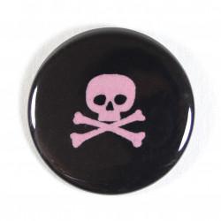 Button skull ø 56mm pink schwarz