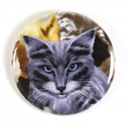 Button cat blue eye fabric button 2.2""