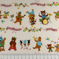 cosmo fabrics cotton bears music notes multicolor japanese textile