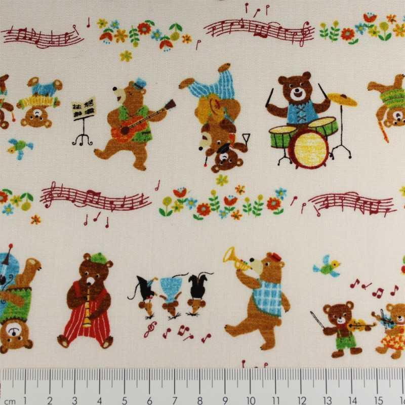 cosmo fabrics cotton bears musicians