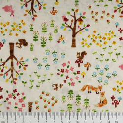 cosmo fabrics cotton squirrel fox hare multicolor japanese textile fabrics