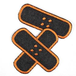 Flickli Pflaster Bügelflicken Jeans schwarz orange Set klein mittel
