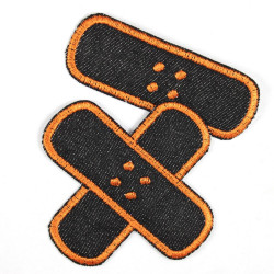 iron-on- patch Flickli! plaster black orange single small, crisscross