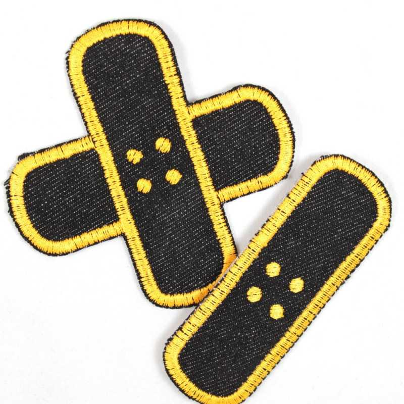 Flickli plaster iron-on patches black jeans yellow embroidered, set small medium