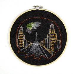 Hoop image Frankfurter Tor embroidered picture