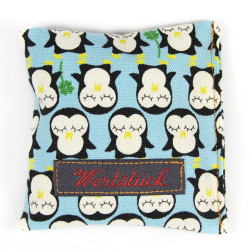 Lavender pillow penguin gold