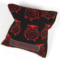 Lavender pillow owls black red