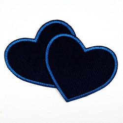 Flicken zum aufbügeln Herzen Feincord blau Gr. L Bügelflicken Herz Aufbügler