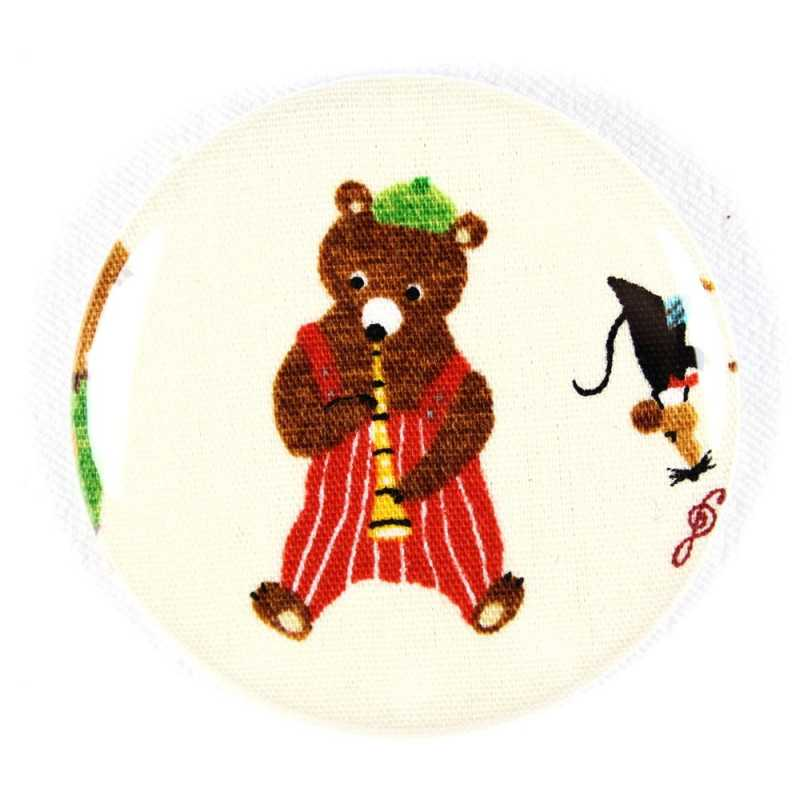 "Button bear plays drums fabric button 2.2"" pin"