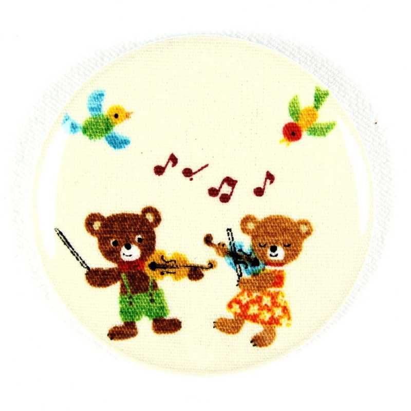 "Button bear plays pipe fabric button 2.2"" pin"