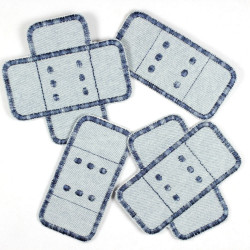 Flickli - the patch! Set jeans plaster patches 4 items light blue multicolor trim