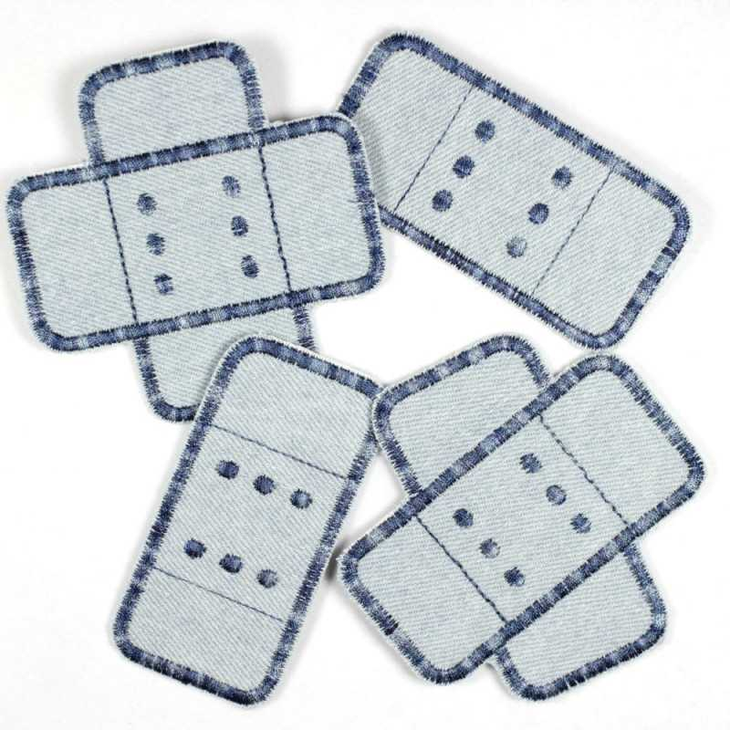 Flickli plaster iron-on patches light blue jeans embroidered in multicolor blue, set of 4 pieces