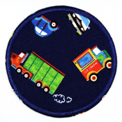 iron-on patches round cars and trucks on blue appliques for children usable knee patches and pants patches
