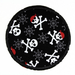 iron-on patches round skulls usable as knee patches and pants patches appliques