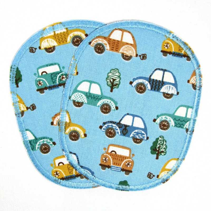 Patch set of retro colorful cars on light blue, reinforced with tear-resistant material and ideal as a knee patch