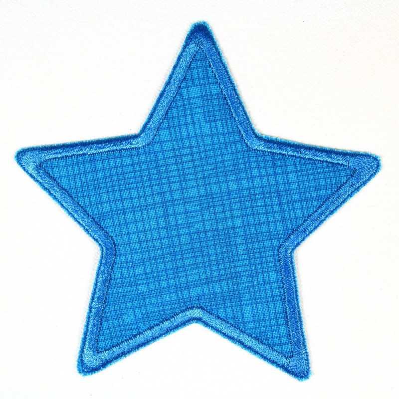 Flickli - the patch! star blue grid blue trim