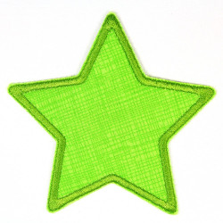 Flickli - the patch! Jeans star grid on green