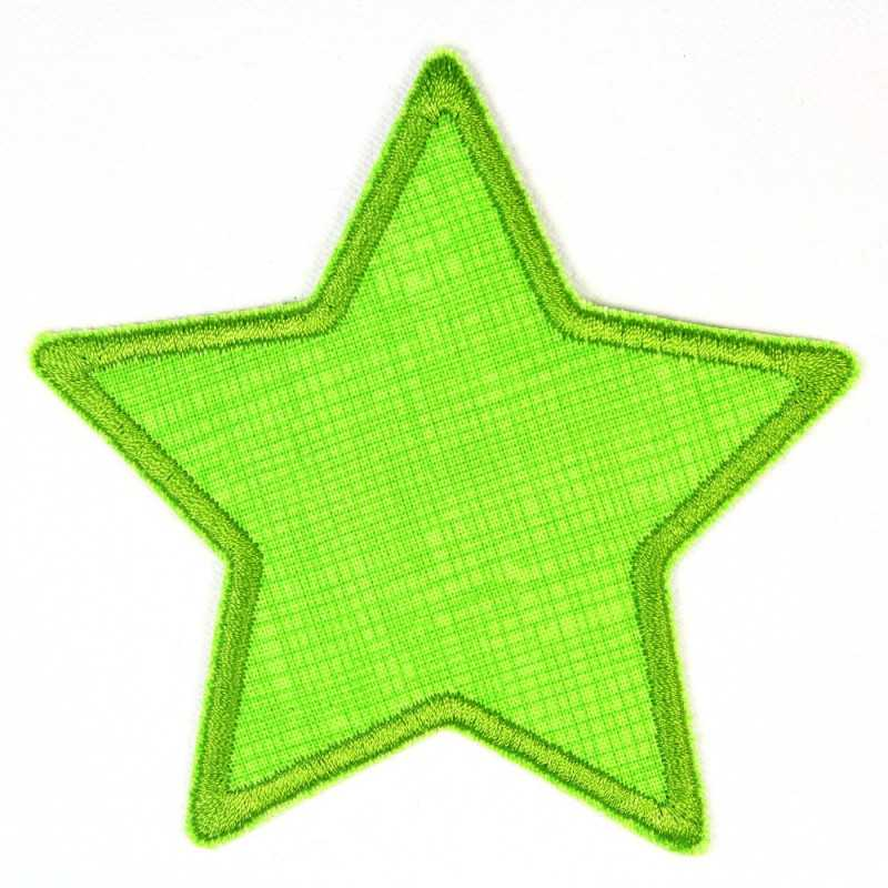 Pants patch star light green grid green iron-on patch star application