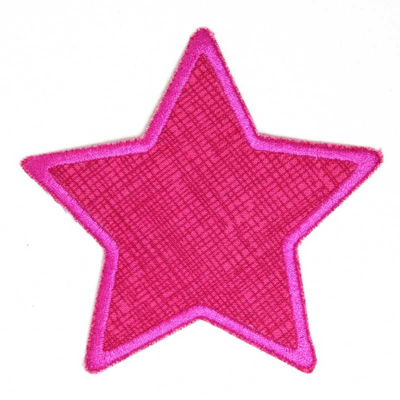 Pants patch star pink grid pink painted iron-on patch star application