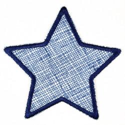 Flickli Stern Gitter mit blauer Schraffur auf weiß blau gefaßt