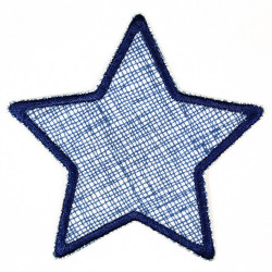 iron-on patches star white grid blue trim applique and accessory