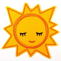 Bügelbild Sonne gestickte Applikation als Aufnäher zum aufbügeln Accessoires und Aufbügler gelb