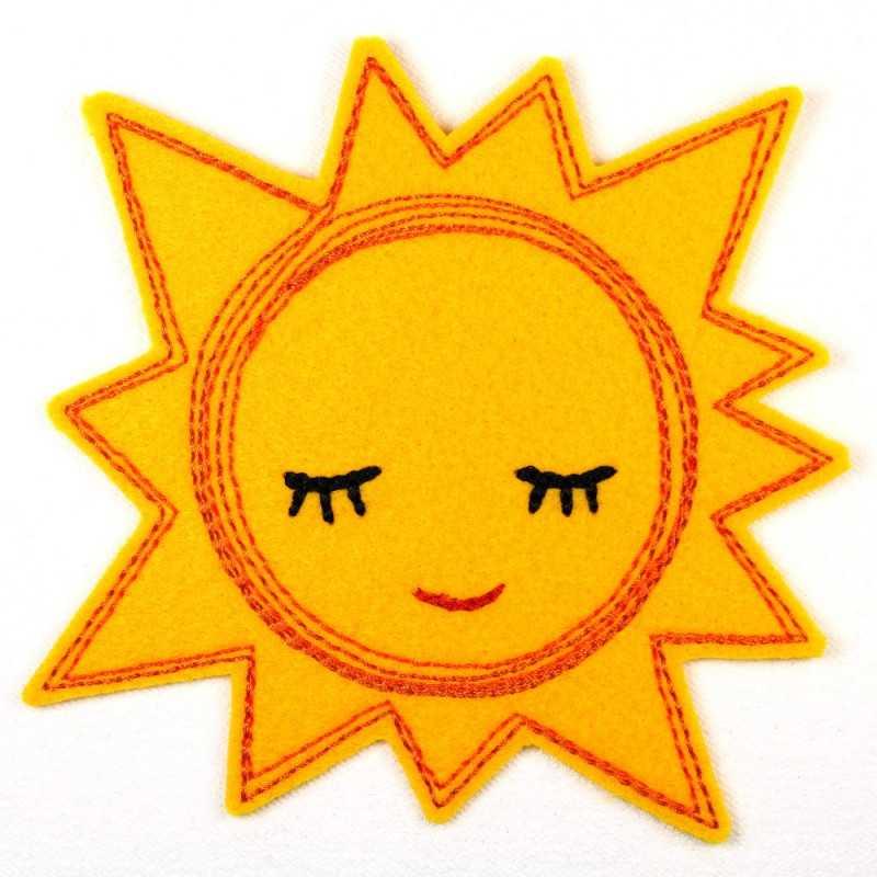 Sonne Bügelbild Applikation bestickt 1 gelb oder orange 1 Aufbügler Happy Sun