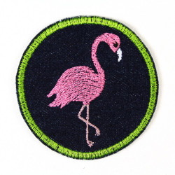 Flickli - the patch! round flamingo blue