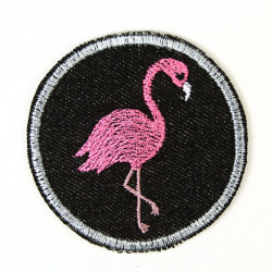 Buegelbild Flamingo rund Jeans Flicken schwarz ø 7cm Buegelflicken Patch Aufbuegler