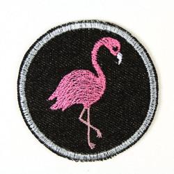 Flickli - the patch! round flamingo black